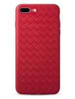 Чехол-накладка на Apple iPhone 5/5S, силикон, плетеный, красный