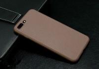 Чехол-накладка на Apple iPhone 6/6S Plus, силикон, под кожу, с вырезом, коричневый