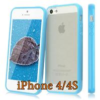 Чехол-накладка на Apple iPhone 4/4S, силикон, пластик, бампер, голубой
