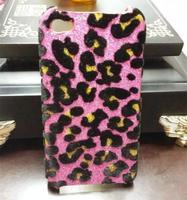 Чехол-накладка на Apple iPhone 4/4S, пластик, леопард, розовый