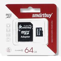 Карта памяти MicroSDHC 64GB Smart Buy, Class 10 (с SD адаптером)