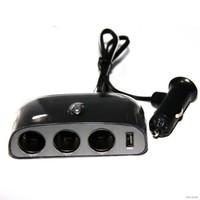 Разветвитель автоприкуривателя Activcar ACT-WF-0032, (3 выхода + USB) c проводом, черный