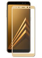 Защитное стекло для Samsung Galaxy A8 Plus (2018) на дисплей, с рамкой, золотистый