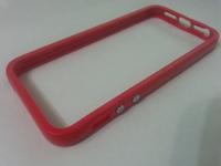 Бампер на Apple iPhone 5/5S, силикон, пластик, красный