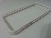 Бампер на Apple iPhone 5/5S, силикон, пластик, прозрачный с белым
