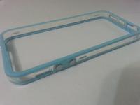 Бампер на Apple iPhone 5/5S, силикон, пластик, прозрачный с голубым