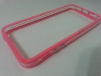 Бампер на Apple iPhone 5/5S, силикон, пластик, прозрачный с розовым