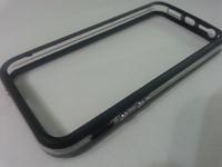 Бампер на Apple iPhone 5/5S, силикон, пластик, прозрачный с черным