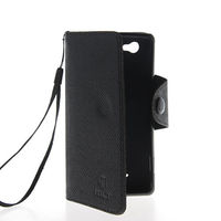 Чехол-книжка на Sony Xperia M кожа, защелка с язычком, черный