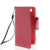 Чехол-книжка на Sony Xperia M кожа, защелка с язычком, розовый
