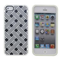Чехол-накладка на Apple iPhone 5/5S, силикон, пластик, орнамент, черно-белый