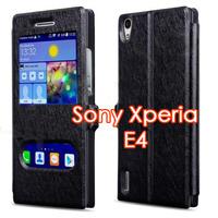 Чехол-книжка на Sony Xperia Е4 полиуретан, S-view, черный