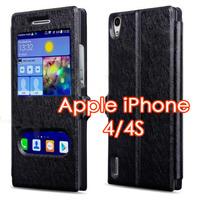 Чехол-книжка на Apple iPhone 4/4S, полиуретан, S-view, черный
