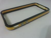 Бампер на Apple iPhone 4/4S, силикон, пластик, черно-желтый