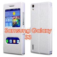 Чехол-книжка на Samsung S3 полиуретан, магнит, S-view, белый