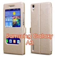 Чехол-книжка на Samsung A3 полиуретан, S-view, магнит, золотистый