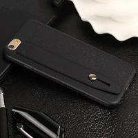 Чехол-накладка на Apple iPhone 5/5S, силикон, кожа, с держателем, черный