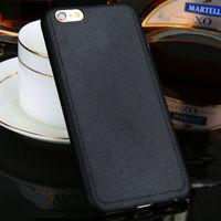 Чехол-накладка на Apple iPhone 6/6S, силикон, под кожу, прошив, черный