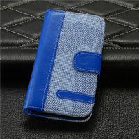 Чехол-книжка на Apple iPhone 4/4S, кожа, текстиль, магнитный с язычком, синий
