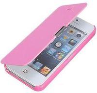 Чехол-книжка на Apple iPhone 5/5S, кожа, магнитный, розовый