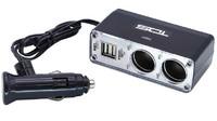 Разветвитель автоприкуривателя TDS TS-CAU22 (2 выхода + 2 USB)