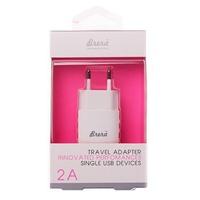 Сетевое зарядное устройство USB, Brera TAU5, 2.1A, 1xUSB, белый