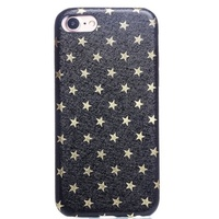 Чехол-накладка на Apple iPhone 7/8/SE2, пластик, под кожу, звезды, черный