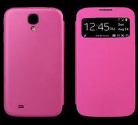 Чехол-книжка на Samsung S4 mini полиуретан, S-view, розовый