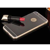 Чехол-накладка на Apple iPhone 6/6S, силикон, зеркальный, черный