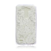 Чехол-накладка LG G3 силикон, прозрачный, узор, белый