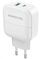 Сетевое зарядное устройство USB, Borofone BA46A Premium, 3A, 1xUSB, PD, QC3.0, белый