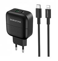 Сетевое зарядное устройство USB, Borofone BA46A Premium, 3A, 1xUSB, PD, QC3.0, + кабель Lightning/Ty