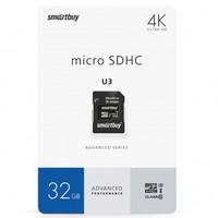 Карта памяти MicroSDHC 32GB Smart Buy, Class 10 UHS-I U3, 60/95 MB/s, (с SD адаптером)