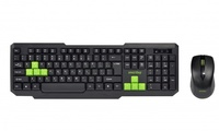 Набор беспроводной клавиатура + мышь, Smart Buy 230346AG-KN полноразмерная, черно-зеленый