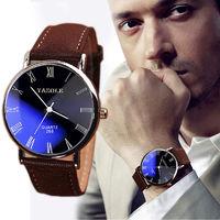 Часы наручные Yazole, ц.синий, р.коричневый, кожа