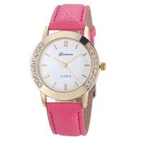 Часы наручные Geneva, ц.белый, р.розовый, кожа, стразы