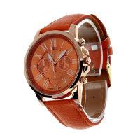 Часы наручные Geneva, ц.оранжевый, р.оранжевый, кожа