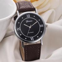 Часы наручные Geneva, ц.черный, р.коричневый, кожа