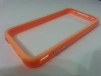 Бампер на Apple iPhone 4/4S, силикон, пластик, оранжевый