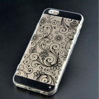 Чехол-накладка на Apple iPhone 5/5S, силикон, орнам.цветы, черный