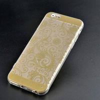 Чехол-накладка на Apple iPhone 5/5S, силикон, орнам.цветы, золотистый