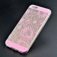 Чехол-накладка на Apple iPhone 5/5S, силикон, орнам.цветы, розовый