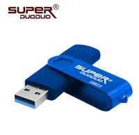 Память USB 3.0 Flash, 16GB, SuperDuoDuo, OTG microUSB, синий