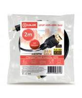 Кабель видео HDMI, D-Color DCCHH200F, 1.4v, 2м, с фильтрами, черный
