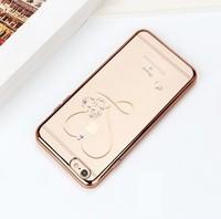Чехол-накладка на Apple iPhone 6/6S Plus, силикон, прозрачный, стразы, золотистый