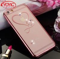 Чехол-накладка на Apple iPhone 6/6S Plus, силикон, прозрачный, стразы, розовый
