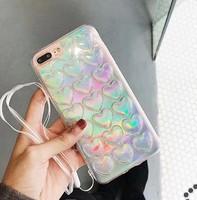 Чехол-накладка на Apple iPhone 6/6S, силикон, 3D, сердца, переливающийся