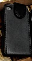 Флип-кейс на Apple iPhone 4/4S, кожа, с язычком, черный