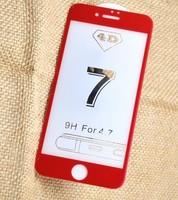 Защитное стекло для Apple iPhone 7 (8) на дисплей, 4D, красный