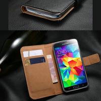 Чехол-книжка на Samsung S5 кожа, магнитный с язычком, черный
